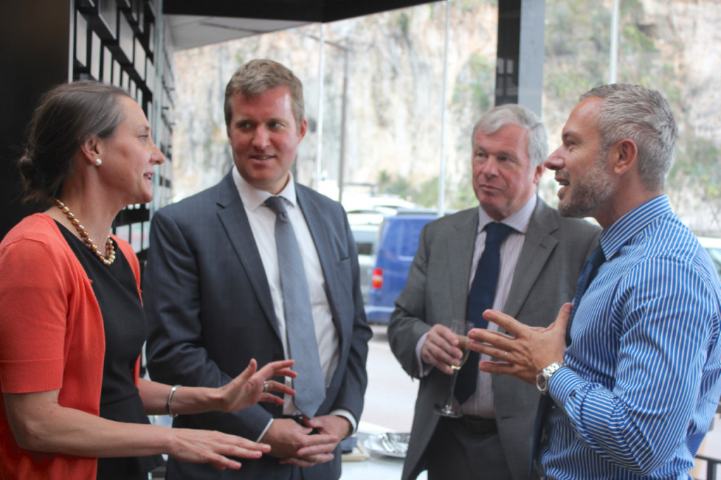 Kate Snipes, a USDA Advisor for Agricultural Affairs; Simon Hankinson, US Consul General in Marseille; Monty Brown of the US Meat Export Federation; and Riccardo Giraudi, owner of the BeefBar (Giraudi Group). Photo: Monaco Life
