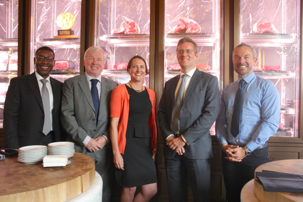 Frederick H Giles, Agricultural Counsellor US Embassy in Rome; Monty Brown of the US Meat Export Federation; Kate Snipes, a USDA Advisor for Agricultural Affairs; Simon Hankinson, US Consul General in Marseille; and Riccardo Giraudi, owner of the BeefBar (Giraudi Group). Photo: Monaco Life