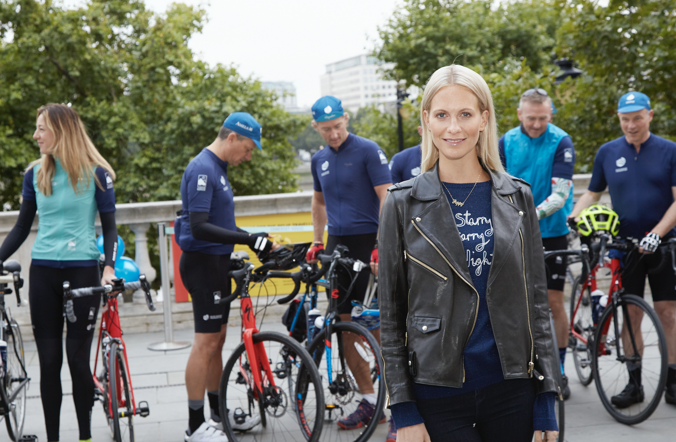 Poppy Develigne with the London to Monaco Charity Cyclists. Photo: BLUE Marine Foundation