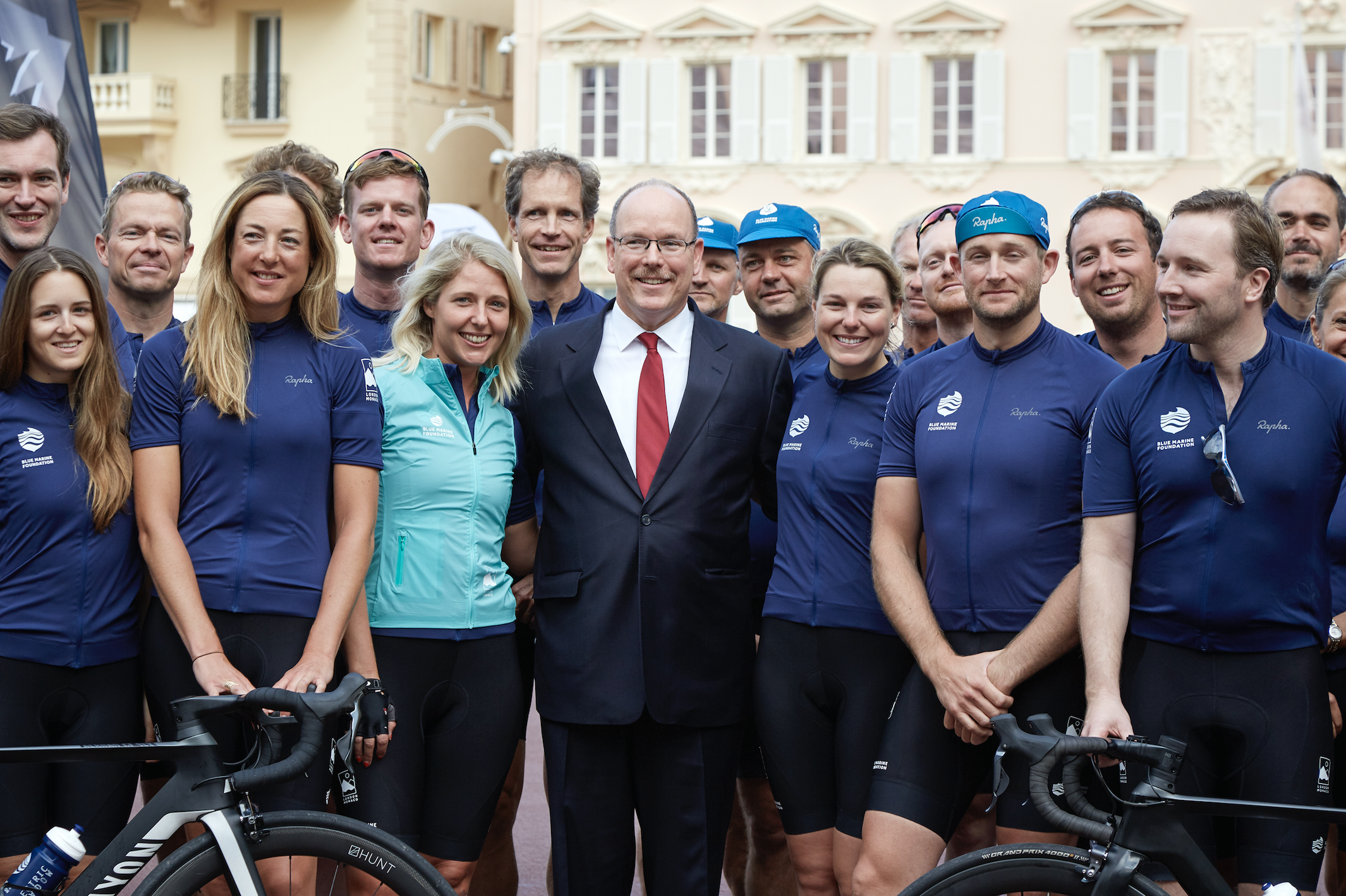 HSH Prince Albert with the cyclists at the finish line. Photo: Blue Marine Foundation