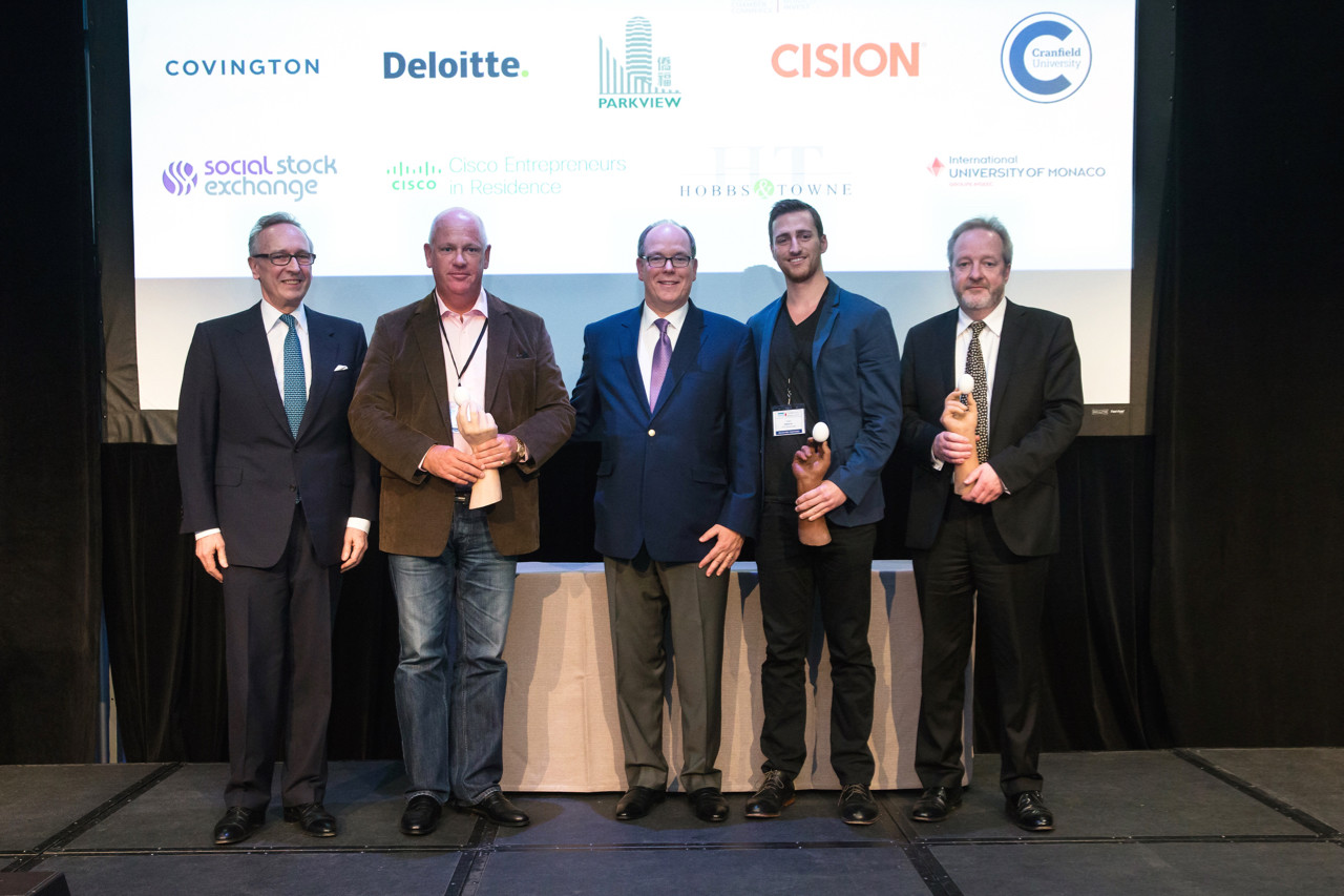 Mungo Park, Chairman of Innovator Capital, and Prince Albert with the 2017 CleanEquity® Monaco Award winners.
