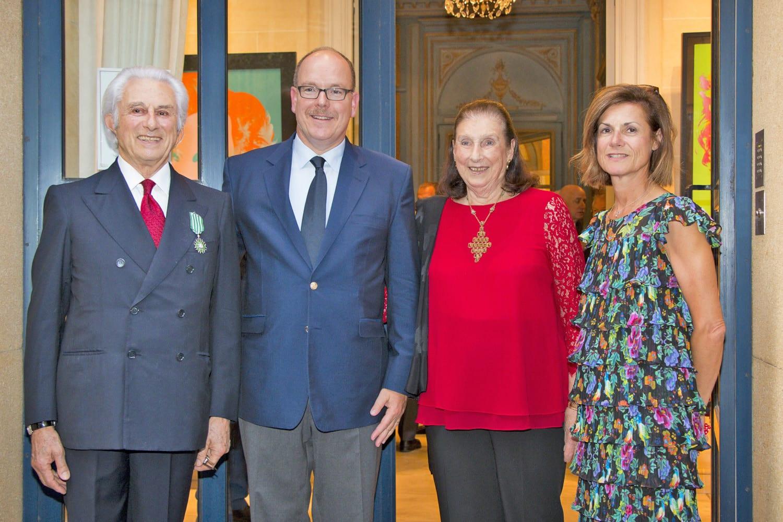 Adriano Ribolzi, Prince Albert, Nicoletta Ribolzi, and Marine de Carné-Trécesson, Ambassador of France to Monaco. Photo: J Turlin