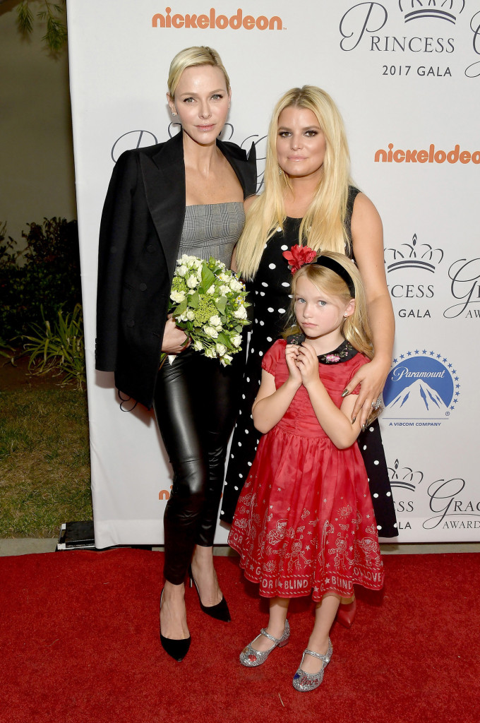 HOLLYWOOD, CA - OCTOBER 24: (L-R) Her Serene Highness Princess Charlene of Monaco, Jessica Simpson and daughter Maxwell Johnson attend the 2017 Princess Grace Awards Gala Kick Off Event with a special tribute to Stephen Hillenberg at Paramount Studios on October 24, 2017 in Hollywood, California. (Photo by Matt Winkelmeyer/Getty Images for Princess Grace Foundation - USA)