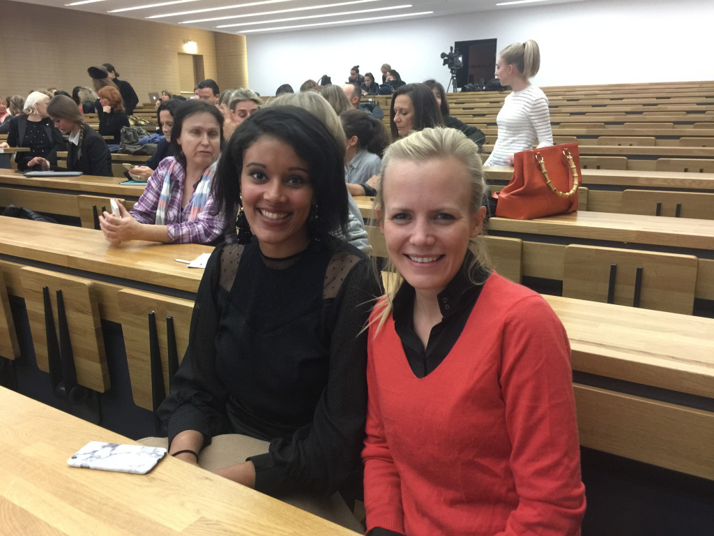"Vibeke Thomsen, Founder of SheCanHeCan , with Project Manager Kasey Robinson at ""Violence in couples: Why don't women leave?"", at the Auditorium of the Lycée Technique et Hôtelier."