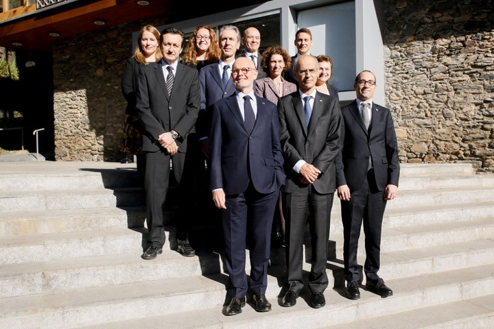 Monaco delegation: Gilles Tonelli, Counselor-Minister of Foreign Affairs and Cooperation and Isabelle Costa, Deputy Secretary General of the Government in charge of the Europe Unit. San Marino delegation: HE Ms Antonella Benedittini, Ambassador, Head of the San Marino Mission to the EU, Luca Brandi, Director of the Directorate of European Affairs; Michele Andreini, Personal Secretary of Mr Renzi. Delegation of Andorra: HE Maria Ubach Font, Minister for Foreign Affairs, HE Enric Tarrado Vives, Ambassador of the Principality of Andorra to the Principality of Liechtenstein, the Principality of Monaco, the Republic of San Marino and the Swiss Confederation, Cristina Mota, Director of European Affairs, Iago Andreu, Deputy Chief of Staff of the Head of Government. Photo: DC