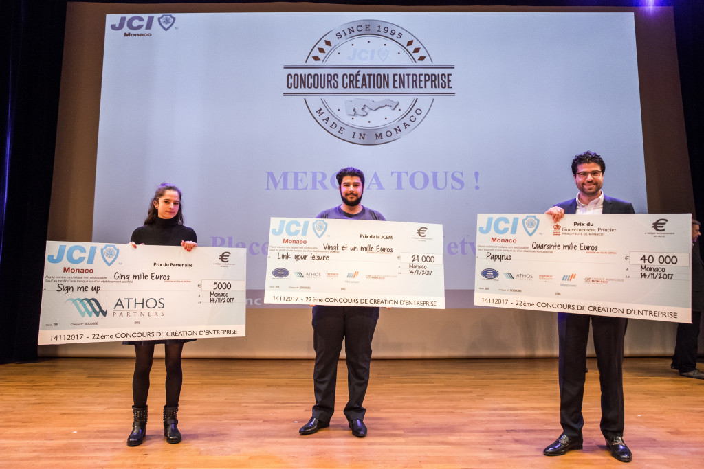 Winners of the 2017 Business Creation Competition organised by the Junior Economic Chamber of Monaco. Photo: JCEM