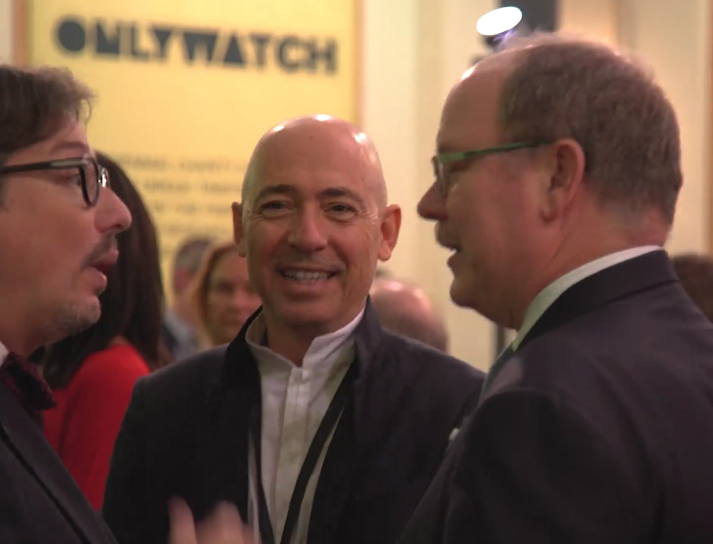 ONLY WATCH founder Luc Pettavino (centre) with Prince Albert on November 11, 2017. Photo; Facebook Only Watch