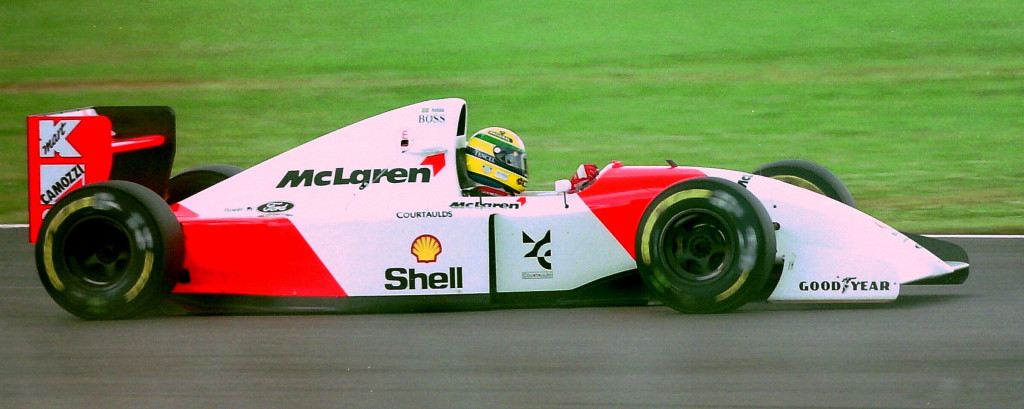 Ayrton Senna driving the McLaren MP4-8 during practice for the 1993 British Grand Prix. Photo: Martin Lee