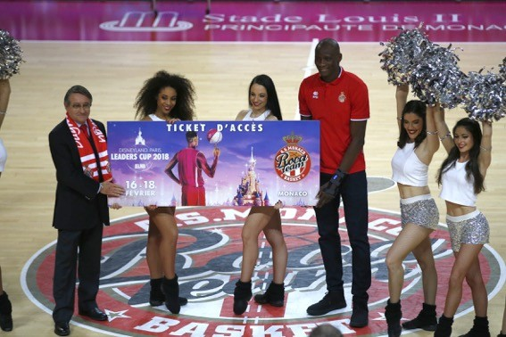 The symbolic delivery of the Disneyland Paris Leaders Cup LNB ticket to AS Monaco Basketball Vice President Paul Masseron and Captain Amara Sy, certifying the AS qualification. Monaco Basketball at the competition. Photo: Manuel Vitali/DC