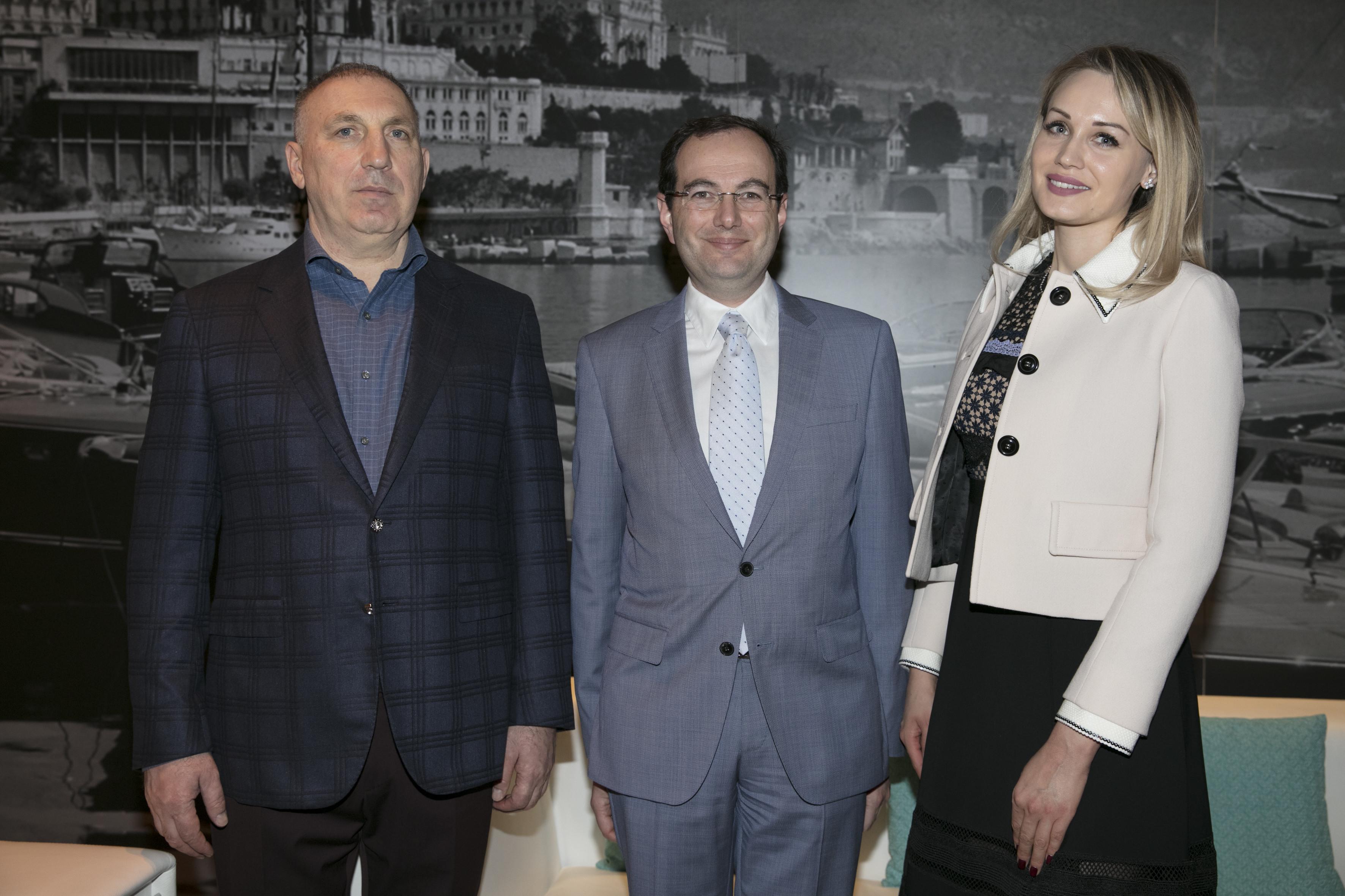 Alexey Antropov with Pascal Granero, Director of the Princess Charlene of Monaco Foundation, and Aya Glagoleva. Photo: International Philanthropy Summit Monaco.