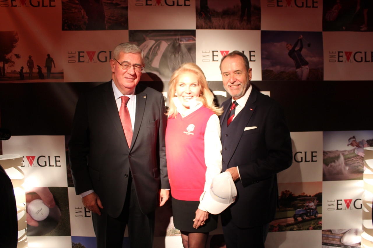 HE Henri Fissore, Chairman of the Board Grimaldi Forum, Susan Feaster, CEO of Ryder Cup France 2018 US Partners Club and Monaco US Celebrity Cup Chairman and Werner Peyer, Managing Director of Compagnie Monégasque de Banque. Photo: Monaco Life