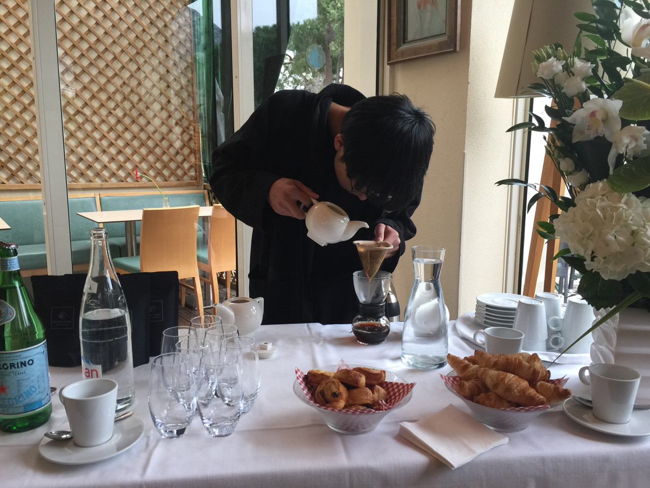 Hibiki Iwano of Horizon Lab making coffee at Castelroc. Photo: Monaco Life
