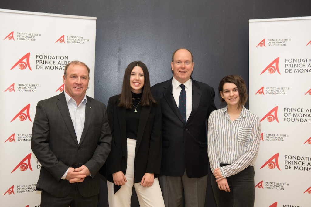 Prince Albert with 2017 Students on Ice Léa Collange, and Célia Benkerrache and Geoff Green, Founding President of Students on Ice. Photo: E.Mathon/Palais Princier