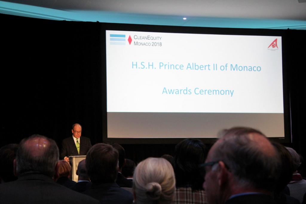 HSH Prince Albert at the 2018 CleanEquity Monaco Awards Ceremony. Photo: Monaco Life