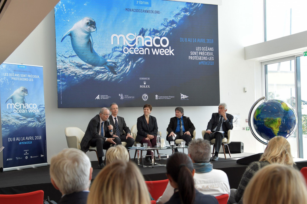 Presenting the Second Edition of the Monaco Ocean Week Bernard Fautrier, Vice-President and Managing Director of the Prince Albert II Foundation; Robert Calcagno, Director General of the Oceanographic Institute; Isabelle Rosabrunetto, Director General of the Department of Foreign Affairs and Cooperation; Denis Allemand, Director of the Monaco Scientific Centre, and Bernard d'Alessandri, General Manager and General Secretary of the Monaco Yacht Club. Photo: Charly Gallo/DC