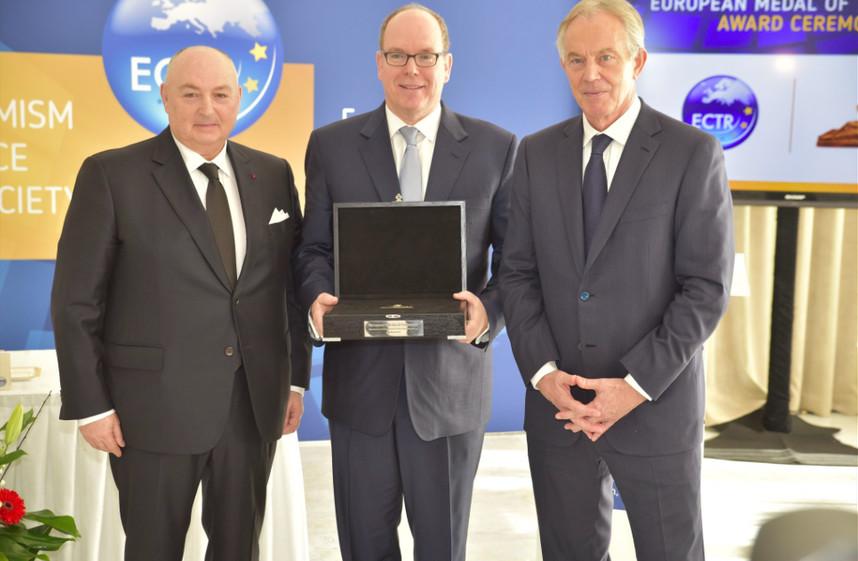 ECTR President Dr Moshe Kantor, Prince Albert and ECTR Chairman former UK Prime Minister Tony Blair. Photo: Twitter ECTR