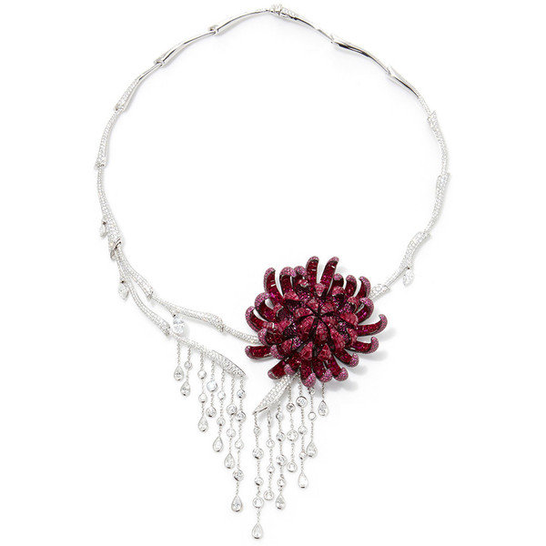 Stenzhorn Noble Ones, The Chrysanthemum necklace in 18k white gold set with 2,818 rubies (53.45ct) and 1,407 colorless diamonds (9.20ct)