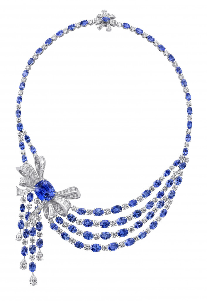Photo: Graff sapphire and diamond Bow necklace featuring a 21.61 carats cushion shape sapphire (Sapphires 89.12cts, Diamonds 31.69cts)