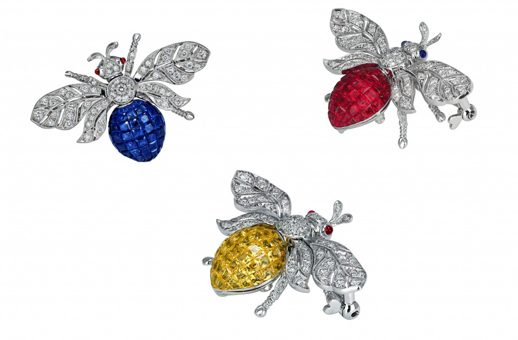 Jacob & Co Abielle Bee Brooch in 18K White Gold with rubies (7.69ct) and diamonds (0.66ct). Jacob & Co Abielle Bee Brooch in 18K White Gold with yellow sapphires (5.20ct) and diamonds (0.60ct). Jacob & Co Abielle Bee Brooch in 18K White Gold with blue sapphires (7.72ct) and diamonds (0.62ct)