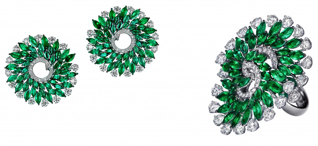 Jacob & Co Infinia earrings in 18K white gold set with marquise shape emeralds (10.00ct) and round shape colorless diamonds (6.97ct). Jacob & Co Infinia ring in 18K white gold set with marquise shape emeralds (8.54ct) and round shape colorless diamonds (5.69ct)