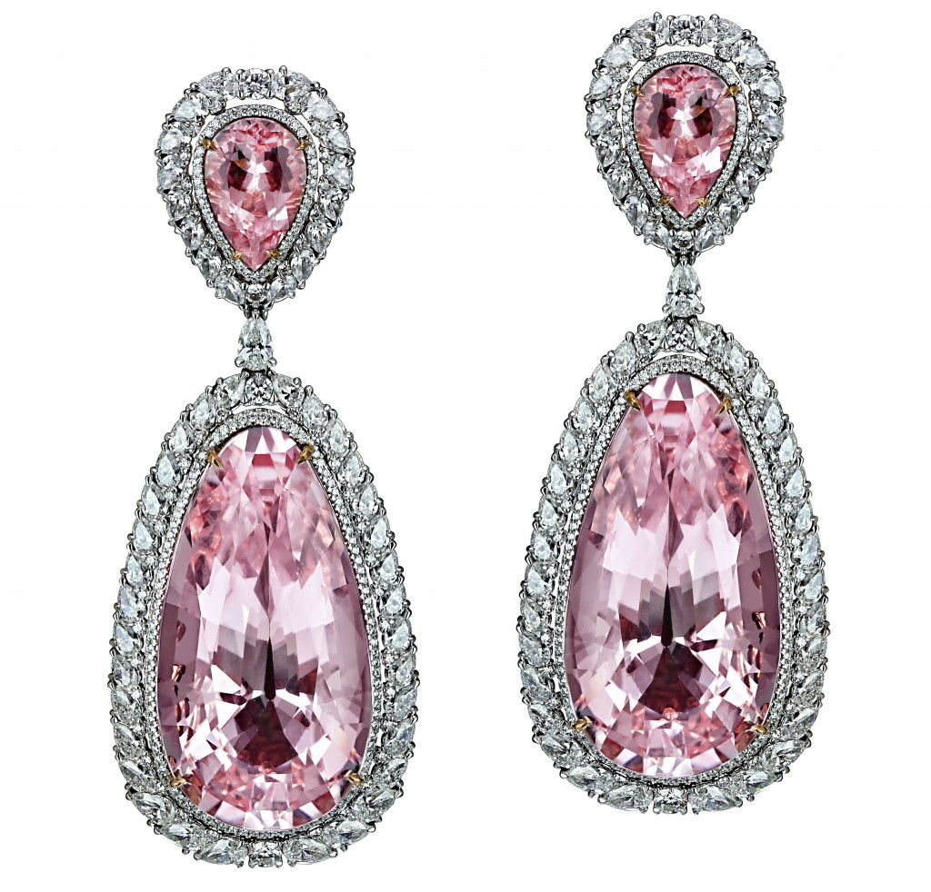 Jacob & Co Morganite Earrings in 18K white gold set with morganite (100.23 carats) and colorless diamonds (8.61 carats)