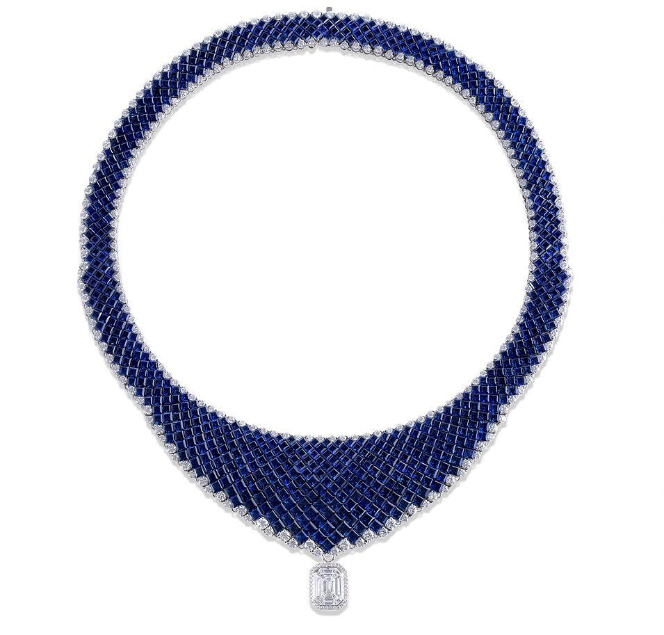 Stenzhorn Ovidio necklace in 18k white gold set with 666 blue sapphires (86.80ct) and 246 colorless diamonds (10.30ct)