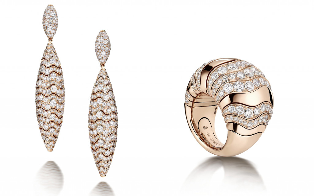 De Grisogono Millefoglie Earrings in 18K pink gold set with 480 colorless diamonds (12.50 Ct). De Grisogono Millefoglie Ring in 18K pink gold set with 131 white diamonds (4.50 Ct)
