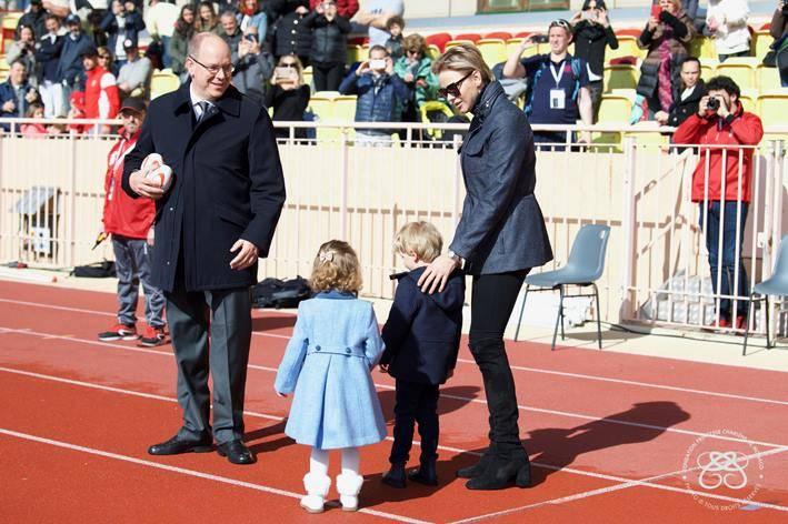 The Prince and Princess  with their children Crown Prince Jacques and Princess Gabriella. Photo: Facebook Fondation Princesse Charlène de Monaco/David Nivière