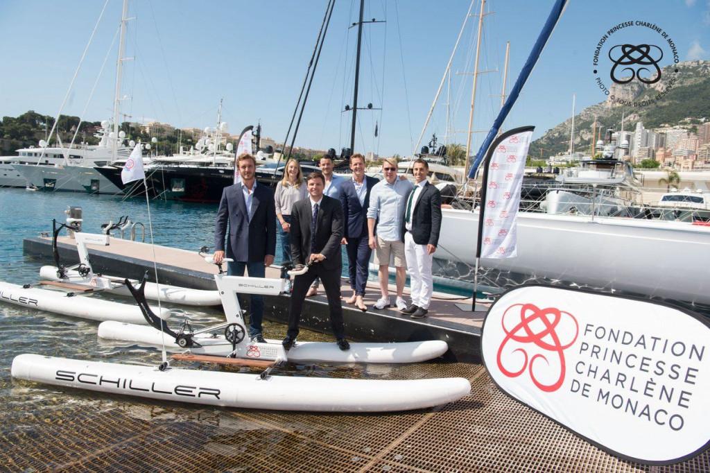 Pierre Casiraghi, Paula Radcliffe, Gareth Wittstock, Rudi Keil, Mika Hakkinen and Olivier Jenot. Photo: Eric Mathon/Palais Princier