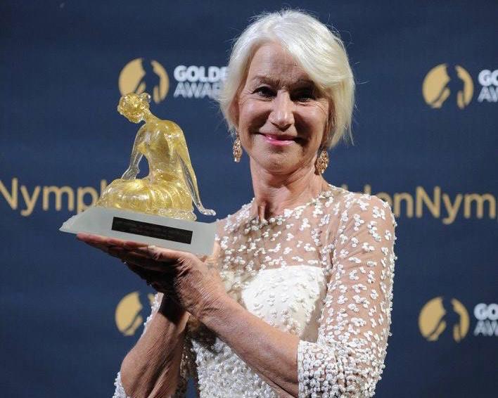 Helen Mirren winner of the 2017 Golden Nymph Special Prize Award. Photo: Facebook Festival de Télévision de Monte-Carlo
