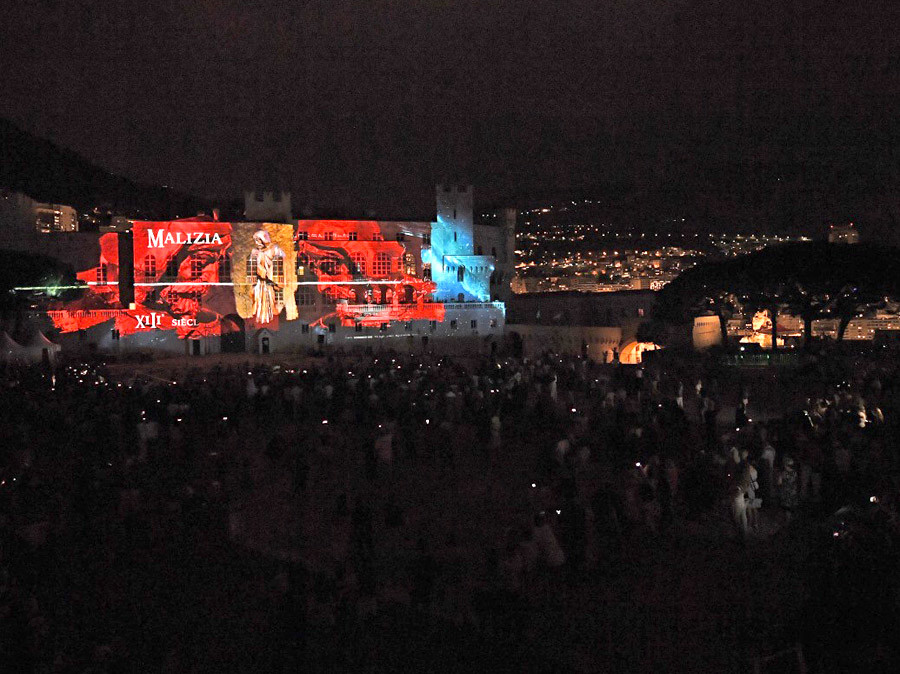 Sound and light on the facade of the Prince's Palace in Monaco