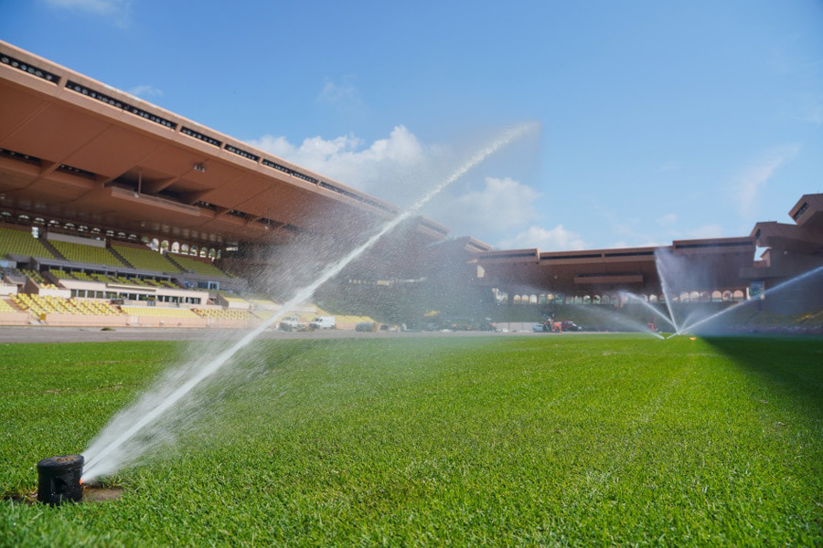 Stade Louis II pitch being watered