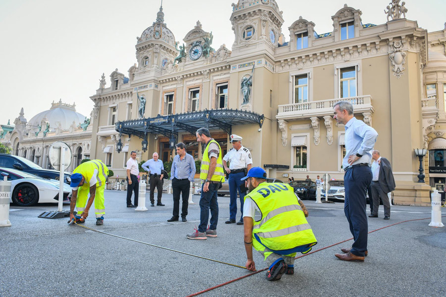 New road layout being set up in Casino Square in Monte Carlo.
