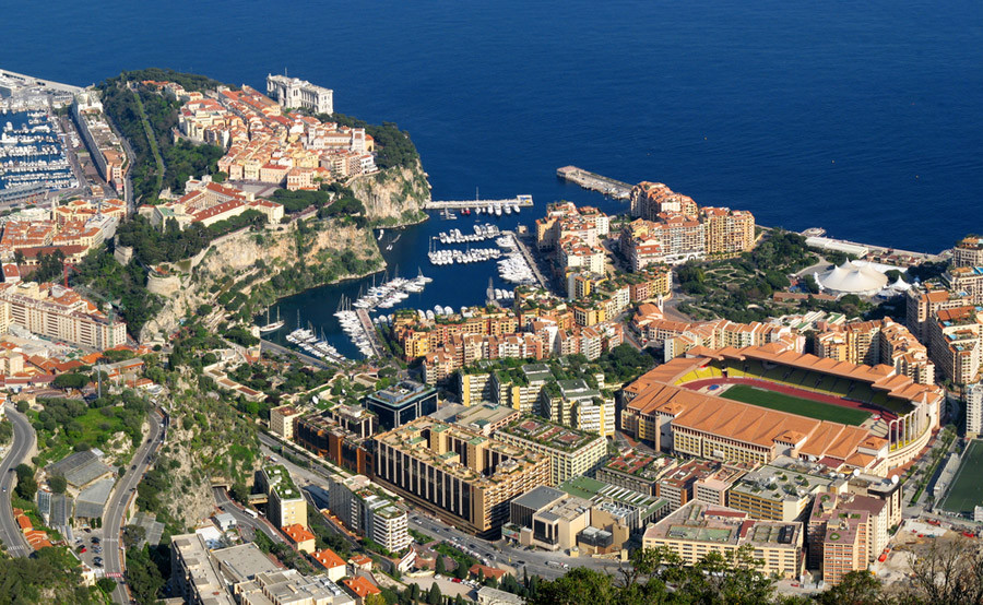 Monaco Yach Show aerial view from Monacair helicopter