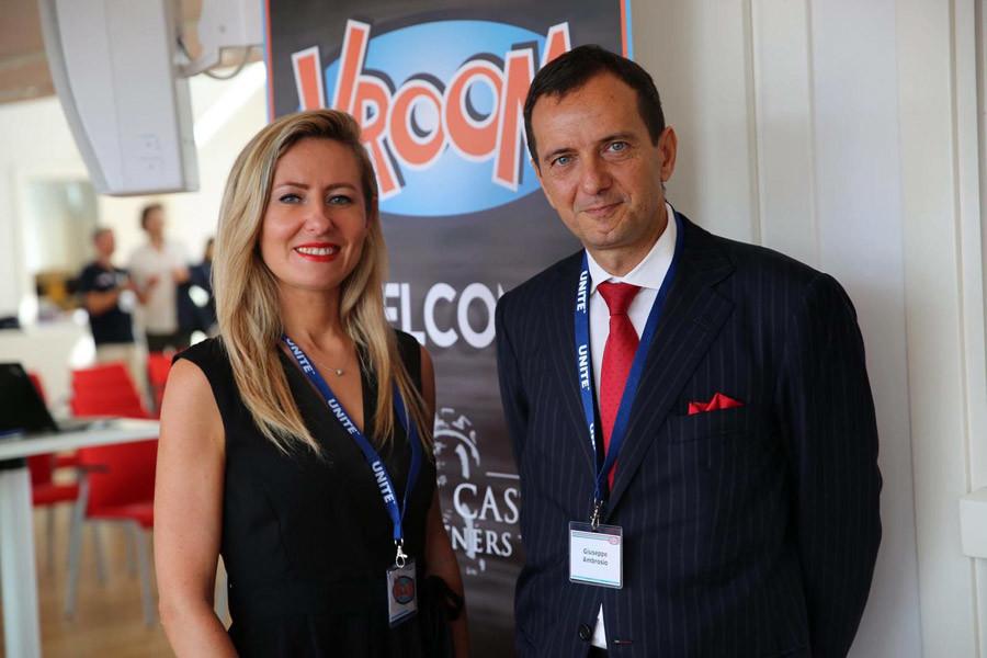 Monaco Life Contributing Editor Agnes Budlewska and Giuseppe Ambrosio of Deloitte attending the Vroom conference