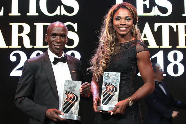 IAAF World Athletes of the Year Eliud Kipchoge and Caterine Ibarguen (Philippe Fitte) © Copyright