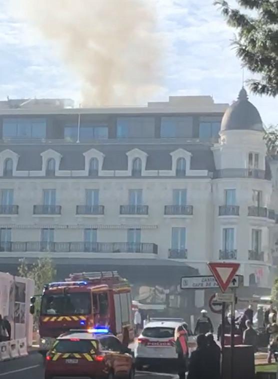 Hotel de Paris on fire
