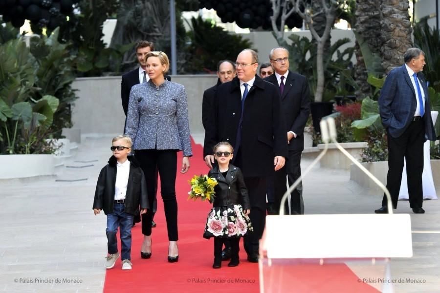 Prince Albert, Princess Charlene, Prince Jacques and Princess Gabriella at the inauguration