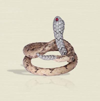 Photo: Jacob & Co Cerastes Collection Bracelet (0.56ct Marquise Rubies, 5.32ct Pave Set White Diamonds, Green Snake Skin)