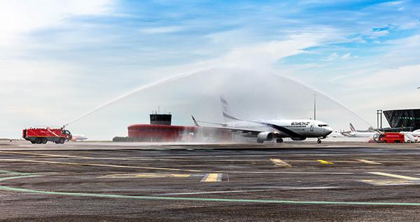 El Al welcomed to Nice with water salute