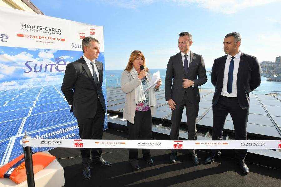 Inauguration MCB Solar Panels - From left to right: Frédéric Darnet, Director of Monte-Carlo Bay; Marie-Pierre Gramaglia, Councilor of Government-Minister of Equipment, Environment and Urbanism; Thomas Battaglione, Managing Director of SMEG and Achour Daira, Monte-Carlo Bay Technical Director © Michael Alesi